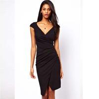 Women summer dresses New Evening dresses fashion street Sexy V-neck short sleeve folds Bud dress Slim Draped Desigual Vestidos