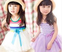 Free Shipping 2014 summer clothing Girl's Summer sleeveless one-piece dress rainbow stripe yarn Dress Dancing Dress Kids Dress