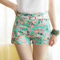 Free Shipping New Fashion Sexy Chiffon Women Shorts Flower Pattern Floral Elastic High Waist Summer Girl Cotton Shorts #6071