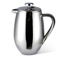 Hotel home office bar drum shape stainless steel double walls 1000ml french press coffee pot