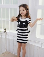 Free Shipping Fashion New Cute cat girl Striped dresses little lady Kids Girls Summer Dress Girls Tight dress