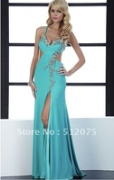 free shipping Wholesale - 2014 Evening Prom Dress Elegant Spaghetti gold Straps Floor Length Summer Evening Dresses