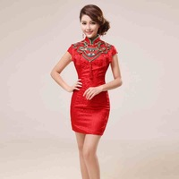 Red Bridal Gowns Dress Formal Dress Short Slim Improved Vintage Fashion Cheongsam Short Sleeve High Quality From Wendy