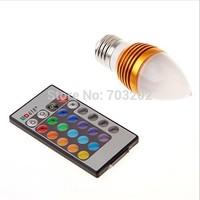 3w led rgb candle bulb light e27 24-Key IR remote control