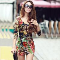 Free Shipping New Fashion Casual Totem Print V-Neck Long Sleeve Bodycon Mini Dress 2014 Autumn Women Sexy Club Dresses D88499