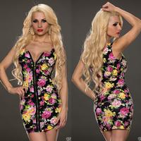 2014 Summer Spring Vintage Floral Print Women Bodycon Bandage Dress Sexy Ladies Zipper Casual Pencil Dress A846