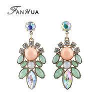 Green Pink Rhinestone Leaf Allied Express Designer  Drop Earrings New 2014 Fashion Summer Brincos for Women