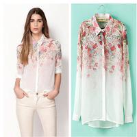 CHEAPEST!!!2014 White See-Through Women Loose Button Down Shirt Blouse Lapel Chiffon Floral Shirt free shipping