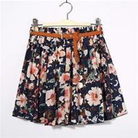 Free Shipping New Fashion Sexy Chiffon Women Skirt Flower Pattern Floral Elastic  Summer Girl Skirt #6076