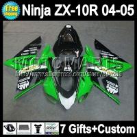 7gifts  For KAWASAKI NINJA Factory green ZX 10 R 2004-2005 Q19299 ZX 10R 2004 2005 ZX-10R Green white ZX10R 04 05 ABS Fairing
