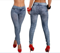 EAST KNITTING 2014 New Stylish Women Gray Denim Like Faux Jean Pants Leggings Free Shipping