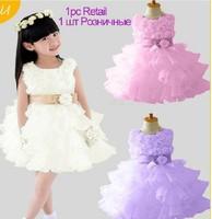 Hot sale !Chiffon Flowers Girl Prom Dress Sleeveless Summer Tutu Party Princess Dress new fashion Free Shipping