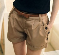 Summer 2014 new fashion Korean women Short Pants casual Twill Korean Oversize Beach Shorts Women Khaki Blue With belt