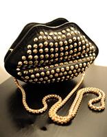 2014 women bag rivet lips bag vitage punk chain bag zipper women messenger bag pu leather free shipping