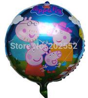 50pcs/Lot Free shipping New Peppa Balloon, Foil balloons