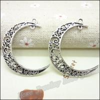 45 pcs Charms Moon Pendant  Tibetan silver  Zinc Alloy Fit Bracelet Necklace DIY Metal Jewelry Findings