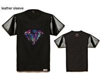 Diamond Supply co Brand hip hop man t-shirt brand design leather sleeve tshirts hot sale Diamond logo print tee shirts cheap