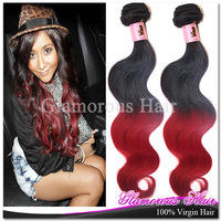 3pcs lot Free Shipping Queen Hair Products Brazilian Virgin Hair Body Wave,Two Tone Ombre Hair 1B/Red 6A Human Remy Hair Weave