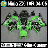 7gifts  Green black For KAWASAKI 04-05 NINJA ZX 10R 10 R 2004 2005 Q19183 ZX-10R NEW Green 04 05 ZX10R 2004 2005 Fairing Kit