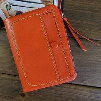 New 2014 Sheepskin genuine leather wallets women wallet coin purse female two-fold short design change purses girls pocketbook