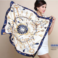 Free Shipping New Arrival Freehand sketching Abstract Ink painting Flower Printed women fashion silk scarf 90cm