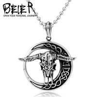 Wholesale Fashion Stainless Steel Retro Vintage Exaggerated OX Cattle skull Pendant For Man SMT-MTGA13