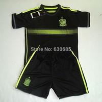 Customize 2014/15 wc spain away black thai quality kids soccer football jersey+shorts kits, children soccer Uniforms, size:16-28