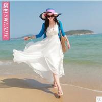 2014 new bohemian beach V  neck dress chiffon  dresses large seaside resort summer women chiffon GLC-119