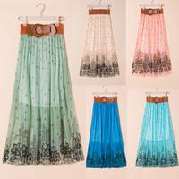 Women's summer skirt irregular distribution belt beach skirts elegant skirt with belt Bohemia Skirts SXH-012