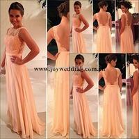 2014 Vestidos De Fiesta Free Shipping Best Sale Peach Long Chiffon A-Line Celebrity Dress Nude Back Lace Prom Dresses