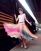 2014 Plus size summer new bohemian beach skirts fashion polyester silk skirt  wrapped skirt women female skirt summer  SXH-006