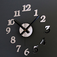 modern design home decor!3D DIY mirror wall clock living room,interior novelty households,wall watch hours,unique gift F11