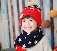 AliExpress hot spell color children's hat scarf + hat pentagram two children winter hats