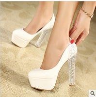 Crystal with white princess ultra high heels thick heel shoes 14cm platform sexy shoes wedding shoes