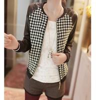 2014 Spring Female Models Fat  Plus size S-XXL Pu Leather Motorcycle Jacket Short Coat Jacket Slim  PBZ023