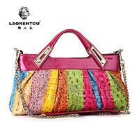 Laorentou Brand Crocodile women's bag Messenger Bags Genuine Leather women handbag Chain bag Shoulder Bags