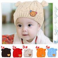 Teddy Bear head infant hat knitted hat winter ear children wool cap wholesale winter