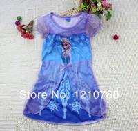 Frozen Dress In Stock Dropship Frozen Elsa Princess Dress Short-Sleeve Long Dress for 2-10age Kids USD4.7/pcs Frozen Costumes