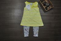 Spain TPT children's Sumnmer clothing set Kids' cotton stripe  vest t-shirt letter print pants Girls 2 piece set