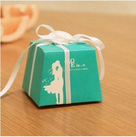 20 Pcs LOVE IS Aqua Color Wedding Favor Gift Candy Box With Ribbon