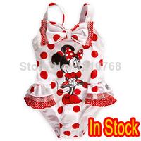 New 2014 Children's Fashion Minnie Mouse Swimsuit Girls Swimwear for 4-10 Kids Minnie Polka Dot One-Piece Swimsuit
