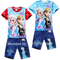Frozen Clothing Set Costumes Girls Clothing Sets Frozen T-Shirt + Demin Shorts Frozen Elsa Frozen Clothes Sets For Kids 2-8age