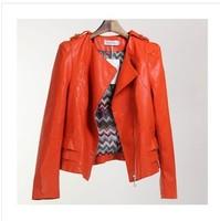 European And American Style Women's Coat Jacket Pu Leather Machine Wagon  PBZ025