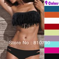 Free Shipping Beauty Women Favor Padded Boho Fringe Top Strapless Bikini set Sexy Swimsuit Top and Bottoms Swimwear hot sale