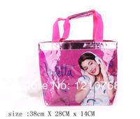 Women fashion Handbag In Stock Dropshipping 2014 hangbags Violetta Shiny crystal powder bag Sweet Pink Girls Handbags 38*28*14cm