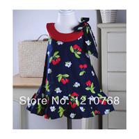 New Arrival children's fashion 2014 girl print dress brand vestidos de menina cherry fruit printed girls dress for 2-6ages