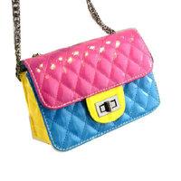2014 fashion Candy patent leather chain woman hand bag Shoulder Bags designer PU Mini bag hit the color Messenger bag