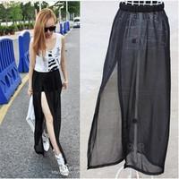sheer skirts 2014 Summer New Womens Sexy Chiffon Long Skirt Woman jupe saias femininas design Split maxi skirt Female Saia Longa
