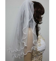 2 layer scallop shape bridal veil curling ribbons shorter veil sticky beads comb