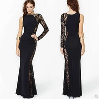 Winter Autumn Lace Elegant Women Long Sleeve Maxi Black Long Evening Dress Asymmetrical O-Neck Elastic Vestidos De Fiesta D370